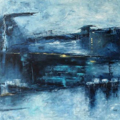 Acrylbild-auf-Leinwand-Großformat-Mitternachtsblau-AbstrakteKunstDeppe