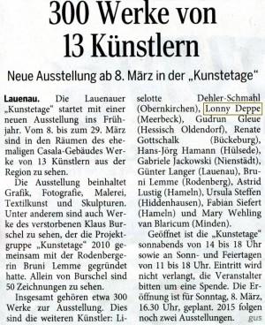 Kunstetage Lauenau - Schaumburger Nachrichten - Ausstellung Lonny Deppe