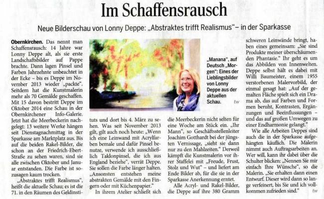 Ausstellung Lonny Deppe in der Sparkasse Obernkirchen