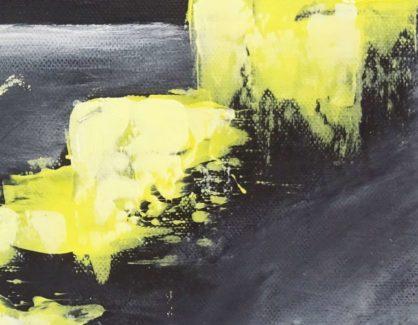 Con Amarillo 100 x 100 cm - Abstrakte Malerei in Acryl auf Leinwand