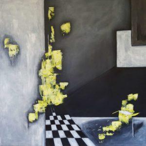 Con Amerillo 100 x 100 cm - Abstrakte Malerei in Acryl auf Leinwand